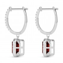 Emerald Shape Garnet & Diamond Halo Dangling Earrings 14k White Gold (2.10ct)
