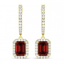 Emerald Shape Garnet & Diamond Halo Dangling Earrings 14k Yellow Gold (2.10ct)