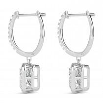 Emerald Shape Moissanite & Diamond Halo Dangling Earrings 14k White Gold (1.56ct)