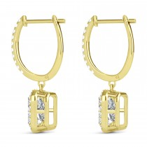 Emerald Shape Moissanite & Diamond Halo Dangling Earrings 14k Yellow Gold (1.56ct)