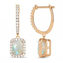 Emerald Shape Opal & Diamond Halo Dangling Earrings 14k Rose Gold (2.10ct)