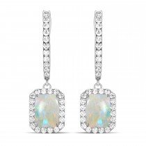 Emerald Shape Opal & Diamond Halo Dangling Earrings 14k White Gold (2.10ct)