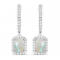 Emerald Shape Opal & Diamond Halo Dangling Earrings 14k White Gold (2.10ct)