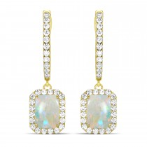 Emerald Shape Opal & Diamond Halo Dangling Earrings 14k Yellow Gold (2.10ct)