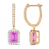 Emerald Shape Pink Sapphire & Diamond Halo Dangling Earrings 14k Rose Gold (1.90ct)