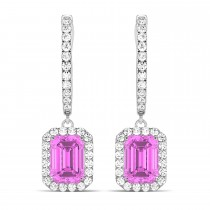 Emerald Shape Pink Sapphire & Diamond Halo Dangling Earrings 14k White Gold (1.90ct)