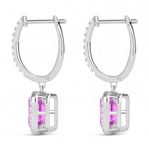 Emerald Shape Pink Sapphire & Diamond Halo Dangling Earrings 14k White Gold (1.90ct)