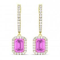 Emerald Shape Pink Sapphire & Diamond Halo Dangling Earrings 14k Yellow Gold (1.90ct)