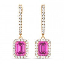 Emerald Shape Pink Topaz & Diamond Halo Dangling Earrings 14k Rose Gold (1.80ct)