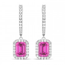 Emerald Shape Pink Topaz & Diamond Halo Dangling Earrings 14k White Gold (1.80ct)