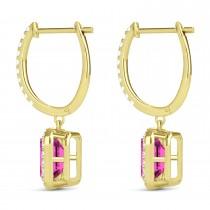 Emerald Shape Pink Topaz & Diamond Halo Dangling Earrings 14k Yellow Gold (1.80ct)