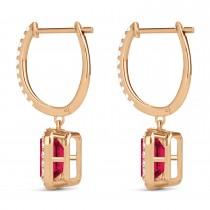 Emerald Shape Ruby & Diamond Halo Dangling Earrings 14k Rose Gold (1.90ct)