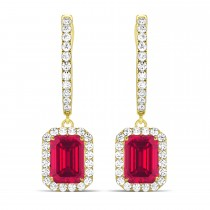 Emerald Shape Ruby & Diamond Halo Dangling Earrings 14k Yellow Gold (1.90ct)