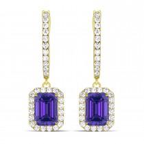 Emerald Shape Tanzanite & Diamond Halo Dangling Earrings 14k Yellow Gold (1.70ct)