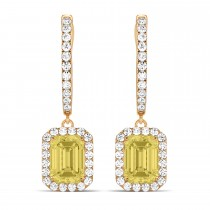 Emerald Shape Yellow Diamond & Diamond Halo Dangling Earrings 14k Rose Gold (1.50ct)