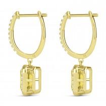 Emerald Shape Yellow Diamond & Diamond Halo Dangling Earrings 14k Yellow Gold (1.50ct)