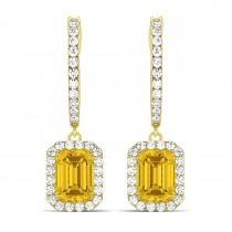 Emerald Shape Yellow Sapphire & Diamond Halo Dangling Earrings 14k Yellow Gold (1.90ct)