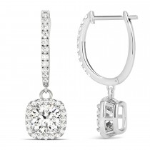 Cushion Shape Diamond Halo Dangling Earrings 14k White Gold (2.18ct)