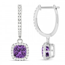 Cushion Amethyst & Diamond Halo Dangling Earrings 14k White Gold (2.20ct)