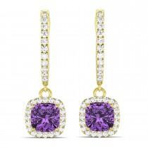 Cushion Amethyst & Diamond Halo Dangling Earrings 14k Yellow Gold (2.20ct)