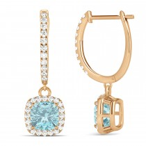 Cushion Aquamarine & Diamond Halo Dangling Earrings 14k Rose Gold (2.70ct)