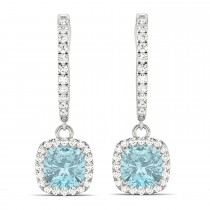 Cushion Aquamarine & Diamond Halo Dangling Earrings 14k White Gold (2.70ct)