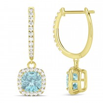 Cushion Aquamarine & Diamond Halo Dangling Earrings 14k Yellow Gold (2.70ct)