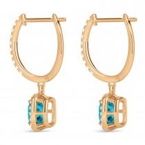 Cushion Shape Blue Diamond & Diamond Halo Dangling Earrings 14k Rose Gold (2.18ct)