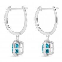 Cushion Shape Blue Diamond & Diamond Halo Dangling Earrings 14k White Gold (2.18ct)
