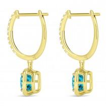 Cushion Shape Blue Diamond & Diamond Halo Dangling Earrings 14k Yellow Gold (2.18ct)