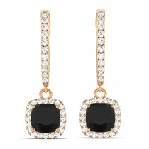 Cushion Shape Black Diamond & Diamond Halo Dangling Earrings 14k Rose Gold (2.18ct)