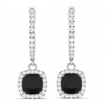 Cushion Shape Black Diamond & Diamond Halo Dangling Earrings 14k White Gold (2.18ct)