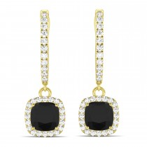 Cushion Shape Black Diamond & Diamond Halo Dangling Earrings 14k Yellow Gold (2.18ct)