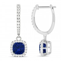 Cushion Blue Sapphire & Diamond Halo Dangling Earrings 14k White Gold (2.70ct)
