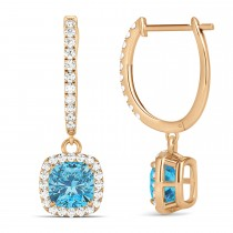 Cushion Blue Topaz & Diamond Halo Dangling Earrings 14k Rose Gold (3.00ct)