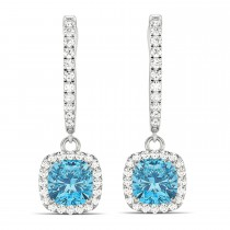 Cushion Blue Topaz & Diamond Halo Dangling Earrings 14k White Gold (3.00ct)