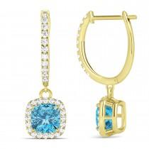 Cushion Blue Topaz & Diamond Halo Dangling Earrings 14k Yellow Gold (3.00ct)