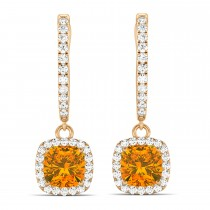 Cushion Citrine & Diamond Halo Dangling Earrings 14k Rose Gold (2.20ct)