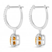 Cushion Citrine & Diamond Halo Dangling Earrings 14k White Gold (2.20ct)