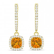 Cushion Citrine & Diamond Halo Dangling Earrings 14k Yellow Gold (2.20ct)