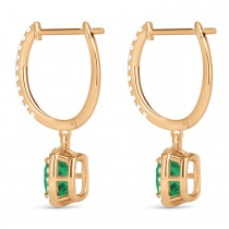 Cushion Emerald & Diamond Halo Dangling Earrings 14k Rose Gold (2.70ct)