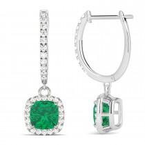 Cushion Emerald & Diamond Halo Dangling Earrings 14k White Gold (2.70ct)