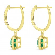 Cushion Emerald & Diamond Halo Dangling Earrings 14k Yellow Gold (2.70ct)