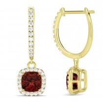 Cushion Garnet & Diamond Halo Dangling Earrings 14k Yellow Gold (2.90ct)