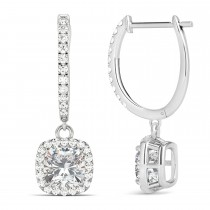 Cushion Moissanite & Diamond Halo Dangling Earrings 14k White Gold (2.70ct)