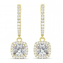 Cushion Moissanite & Diamond Halo Dangling Earrings 14k Yellow Gold (2.70ct)