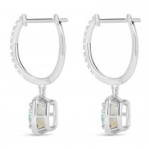 Cushion Opal & Diamond Halo Dangling Earrings 14k White Gold (2.90ct)