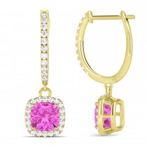 Cushion Pink Sapphire & Diamond Halo Dangling Earrings 14k Yellow Gold (2.70ct)