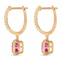 Cushion Pink Topaz & Diamond Halo Dangling Earrings 14k Rose Gold (3.00ct)
