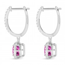 Cushion Pink Topaz & Diamond Halo Dangling Earrings 14k White Gold (3.00ct)